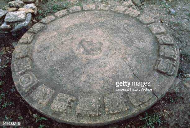 Mayan calendar disk on the ground at Tonina a preColumbian archaeological site in Chiapas Mexico dating from the 6th century through the 9th...