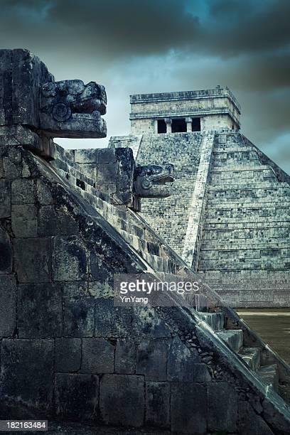 Mayan Chichen Itza Traditional Temple Pyramid Ruin, Yucatan, Mexico