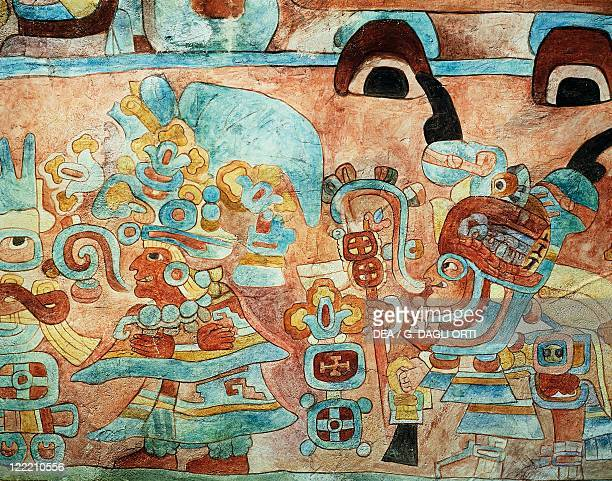 Mayan civilization Mexico Reconstruction of the wall painting of the Temple of the Jaguars at Chichen Itza