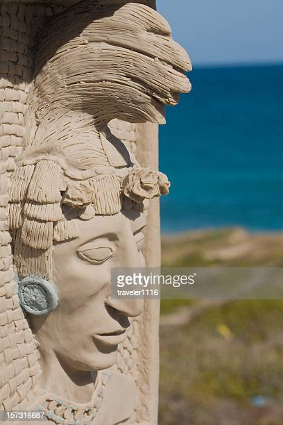 mayan head - isla mujeres stock photos and pictures