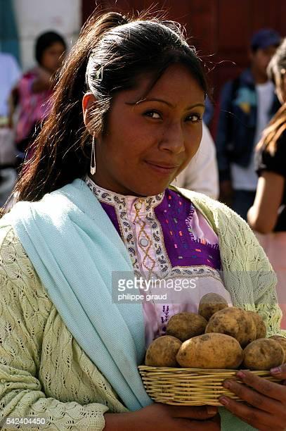 A Mayan Indian selling vegetables on the market at San Cristobal de las Casas in Chiapas