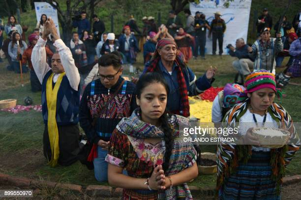 Mayan indigenous people celebrate a ceremony marking the 21st anniversary of the signing of the peace in Guatemala after 36 years of civil armed...