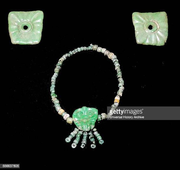 Mayan jade pendant and collar from Calkmul Campeche Mexico 600900 AD