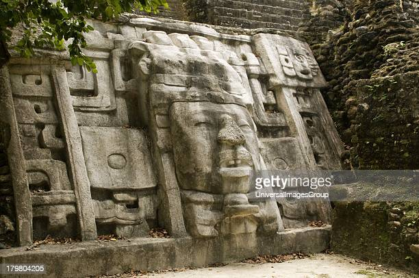 Mayan Mask Temple Lamanai Belize