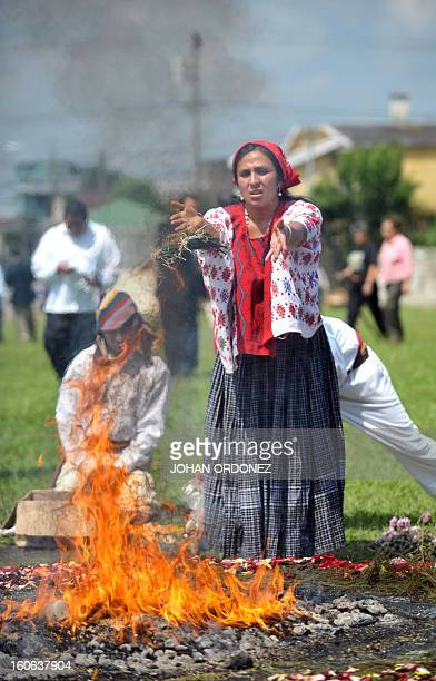 A Mayan priestess takes part in a Mayan ceremony celebrating the 'International Day of Indigenous Peoples' attended by Guatemala's President Alvaro...