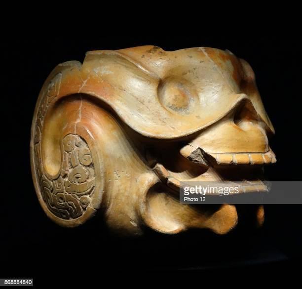 Mayan terracotta bowl in the shape of a death's head From la Lagunita Guatemala 300600 AD