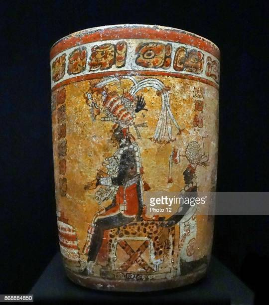 Mayan terracotta vase depicting a king or ruler on a throne covered by a jaguar skin From Peten Yucatan Mexico 600900 AD