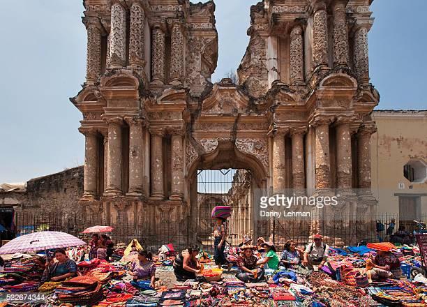 mayan textile market at el carmen church ruins in antigua - guatemala stock pictures, royalty-free photos & images