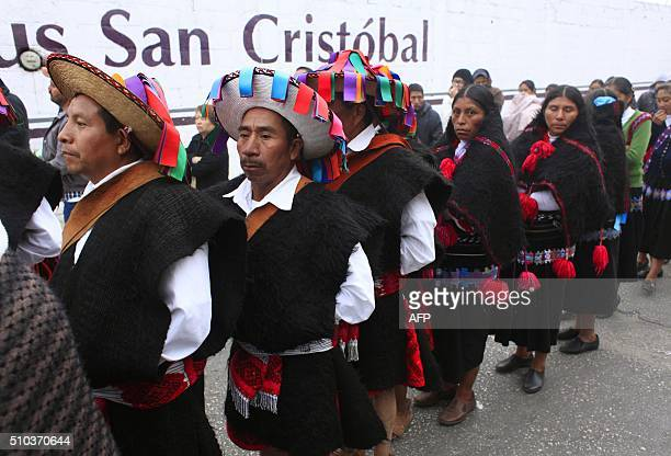Mayan Tzotzil natives queue outside the place where Pope Francis is to celebrate an openair mass in San Cristobal de Las Casas Chiapas state Mexico...
