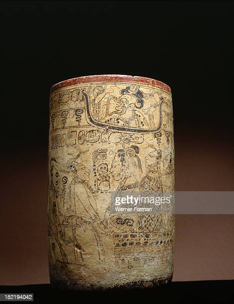 Mayan vessel depicting a series of transformations of the Hero Twin Yax Balam In Mayan mythology the Hero Twins served many functions and took...