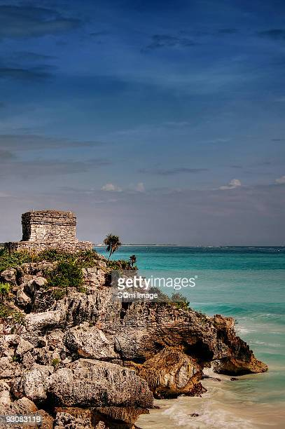 mayan watchtower - quintana roo stock photos and pictures