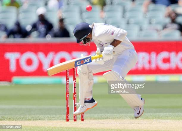 Mayank Agarwal of India bats during day three of the First Test match between Australia and India at Adelaide Oval on December 19, 2020 in Adelaide,...