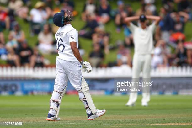 Mayank Agarwal of India reacts after a close call during day one of the First Test match between New Zealand and India at Basin Reserve on February...
