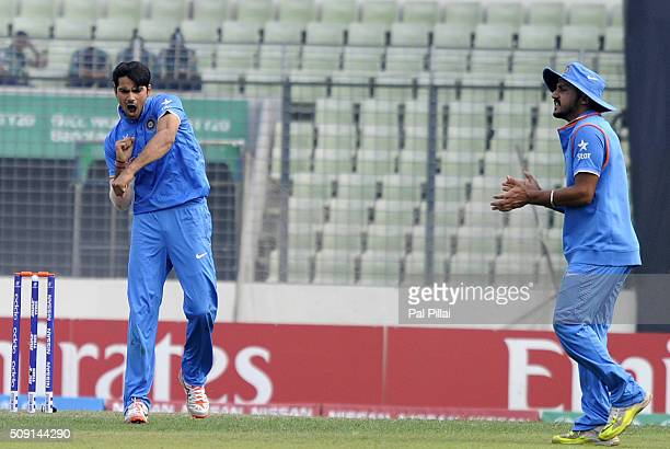 Mayank Dagar of India celebrates the wicket of Kamindu Mendis of Sri Lanka during the ICC U19 World Cup SemiFinal match between India and Sri Lanka...