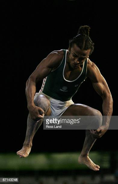 Mayank Srivastava of India competes in the Men's Vault Final in the artistic gymnastics at the Rod Laver Arena during day six of the Melbourne 2006...