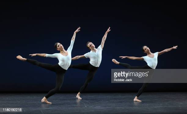 Mayara Magri, Matthew Ball and Francesca Hayward in the Royal Ballet's production of Merce Cunningham's Cross Currents as part of the Merce...