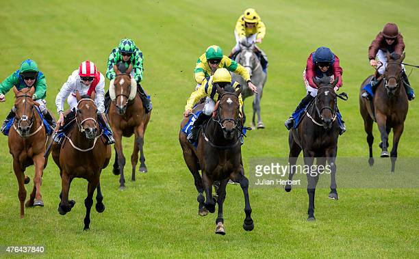 Maybelater ridden by Pat Dobbs leads the field home to win the 1555 The EBF Stallions Breeding Winners Margadale Fillies' Handicap Stakes Race run at...