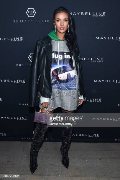 Maybelline New York hosts Kate Upton Maya Jama and Victoria Justice front row during the Phillipp Plein FW18 show at Duggal Greenhouse on February 10...