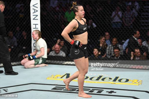Maycee Barber celebrates her TKO victory over JJ Aldrich in their women's flyweight bout during the UFC Fight Night event at Bridgestone Arena on...