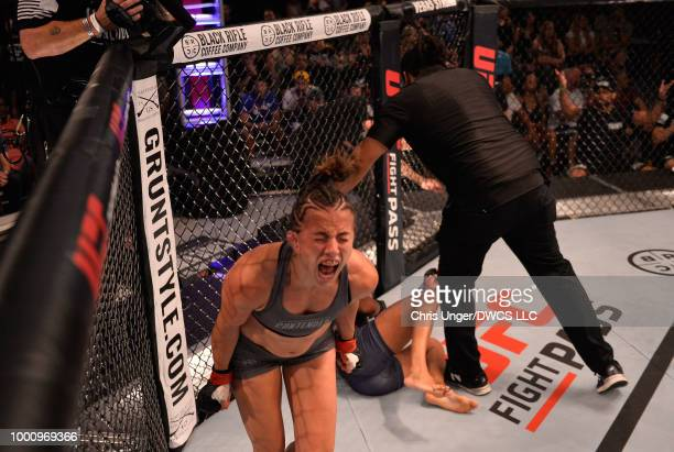 Maycee Barber celebrates her victory over Jamie Colleen in their womens strawweight fight during Dana White's Tuesday Night Contender Series at the...
