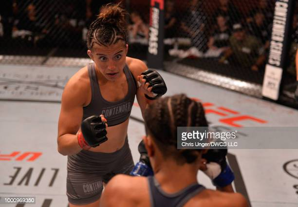 Maycee Barber circles Jamie Colleen in their womens strawweight fight during Dana White's Tuesday Night Contender Series at the TUF Gym on July 17...