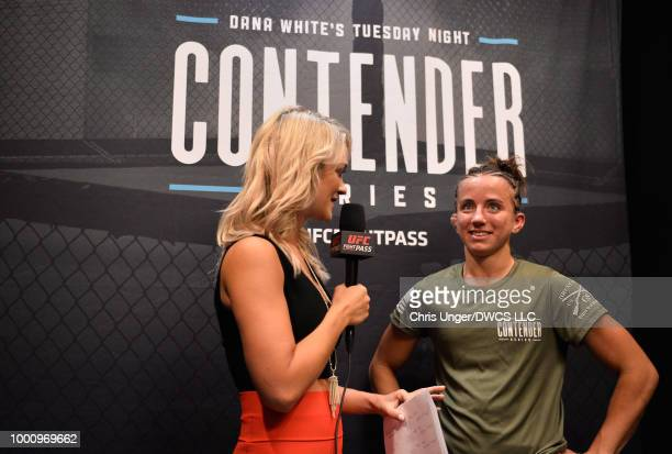 Maycee Barber is interviewed by Laura Sanko after being awarded a UFC contract during Dana White's Tuesday Night Contender Series at the TUF Gym on...