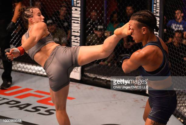 Maycee Barber kicks Jamie Colleen in their womens strawweight fight during Dana White's Tuesday Night Contender Series at the TUF Gym on July 17,...