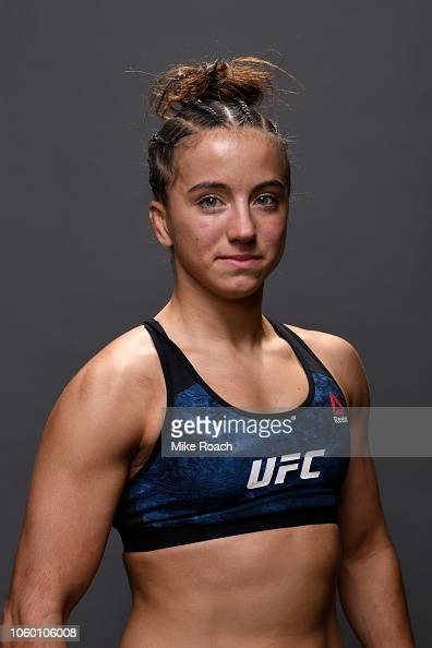 Maycee Barber poses for a post fight portrait backstage ...