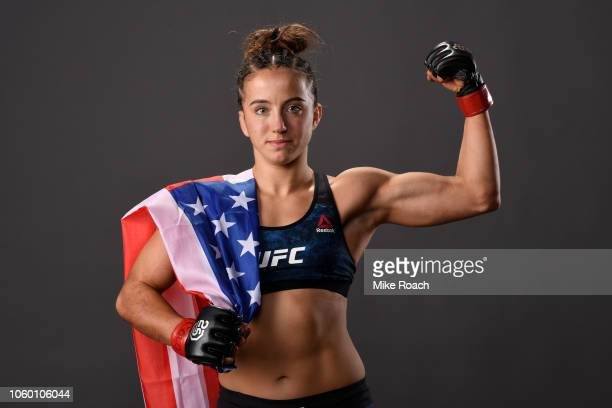 Maycee Barber poses for a post fight portrait backstage during the UFC Fight Night event inside Pepsi Center on November 10 2018 in Denver Colorado