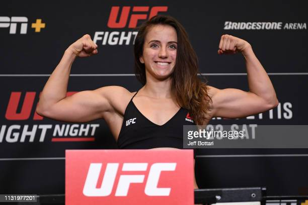 Maycee Barber poses on the scale during the UFC Fight Night weighin at Hilton Franklin Cool Springs on March 22 2019 in Franklin Tennessee