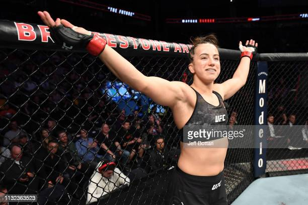 Maycee Barber stands in her corner prior to her women's flyweight bout against JJ Aldrich during the UFC Fight Night event at Bridgestone Arena on...