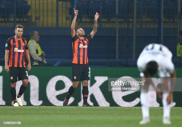 Maycon of Shakhtar Donetsk celebrates after scoring his team's second goal during the Group F match of the UEFA Champions League between FC Shakhtar...