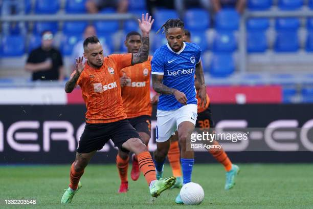 Maycon of Shakhtar Donetsk fights for the ball with Theo Bongonda of KRC Genk during the Champions League qualification match between KRC Genk and...