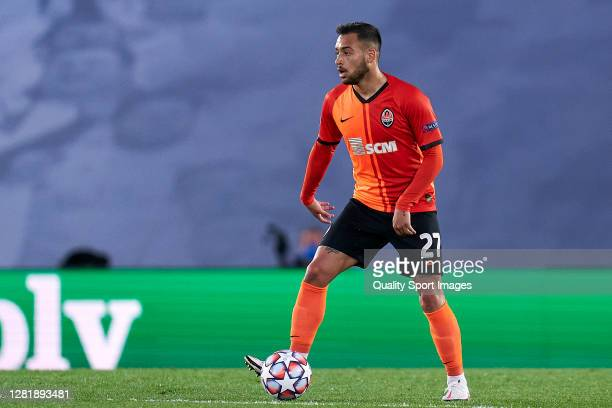 Maycon of Shakhtar Donetsk looks on during the UEFA Champions League Group B stage match between Real Madrid and Shakhtar Donetsk at Estadio Alfredo...