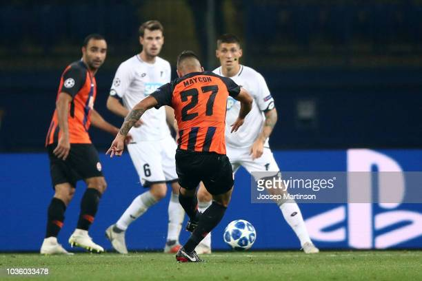 Maycon of Shakhtar Donetsk scores his team's second goal during the Group F match of the UEFA Champions League between FC Shakhtar Donetsk and TSG...