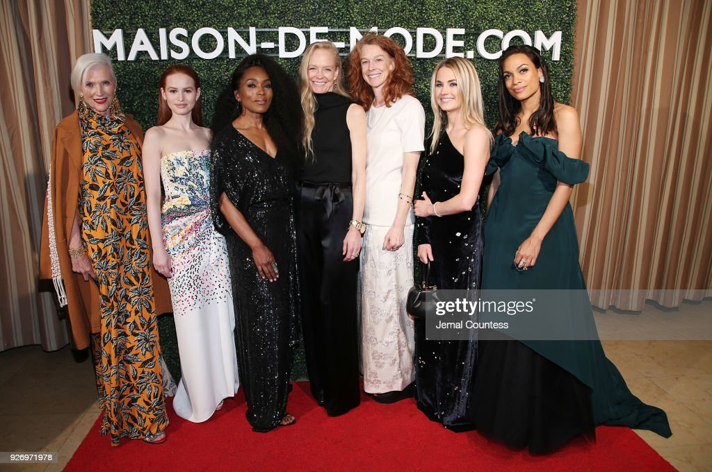 Maye Musk, actress Madelaine Petsch, actress Angela Bassett, Co-founder of RCGD/MUSE Suzy Amis Cameron, Co-founder of RCGD/MUSE Rebecca Amis, Co-Founder of MDM Amanda Hearst and actress Rosario Dawson attend the MAISON-DE-MODE Celebrates Sustainable Style By Honoring Suzy Amis Cameron Of Red Carpet Green Dress at Sunset Tower on March 3, 2018 in Los Angeles, California.