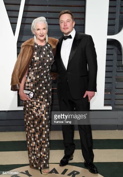 Maye Musk and Elon Musk arrive for the Vanity Fair Oscar Party hosted by Graydon Carter at the Wallis Annenberg Center for the Performing Arts on...