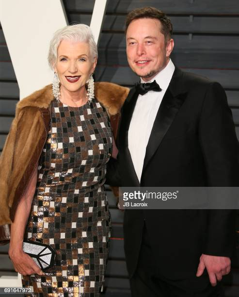 Maye Musk and Elon Musk attend the 2017 Vanity Fair Oscar Party hosted by Graydon Carter at Wallis Annenberg Center for the Performing Arts on...