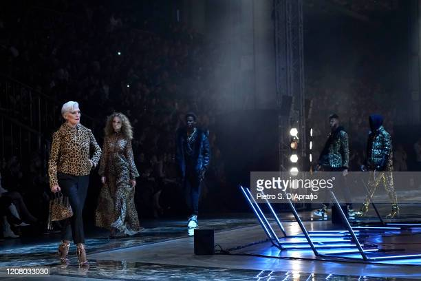 Maye Musk and models walk the runway during the Philipp Plein fashion show as part of Milan Fashion Week Fall/Winter 2020-2021 on February 22, 2020...