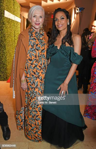 Maye Musk and Rosario Dawson attend the first annual gala hosted by MAISONDEMODECOM and Perrier Jouet to celebrate Sustainable Style by honoring Suzy...