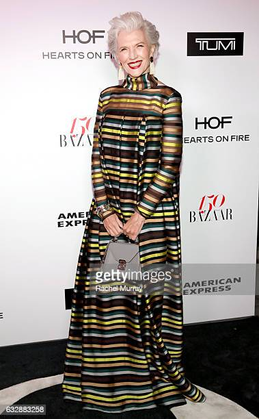 Maye Musk attends Harper's BAZAAR celebration of the 150 Most Fashionable Women presented by TUMI in partnership with American Express La Perla and...