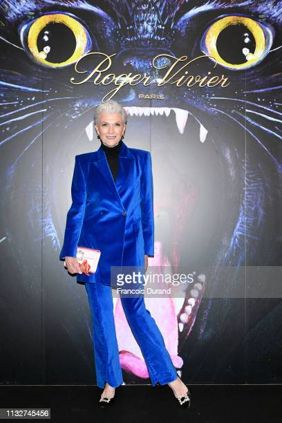Maye Musk attends Roger Vivier Day Dream Vivier Press Day during Paris Fashion Week Womenswear Fall/Winter 2019/2020 at Fondation Cino et Simone del...