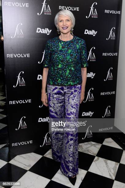 Maye Musk attends The Daily Front Row and REVOLVE FLA after party at Mr Chow hosted by Mert Alas on April 2 2017 in Los Angeles California