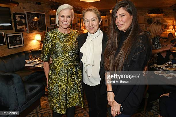 Maye Musk, Justine Picardie and Elizabeth Saltzman attend The Fashion Awards in partnership with Swarovski nominees' lunch hosted by the British...