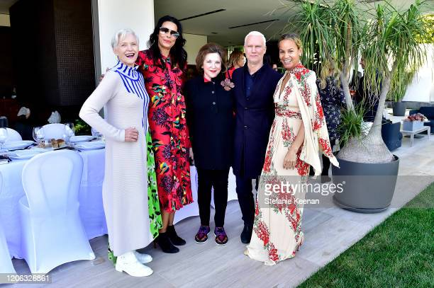 Maye Musk, Kim Heirston, Marina Kellen French, Klaus Biesenbach and Erica Reid attend Necessite + FRIEZE LA Luncheon at Private Residence on February...