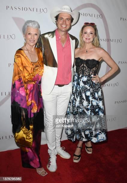 "Maye Musk, Kimbal Musk and Christiana Musk arrive at Passionflix's Series ""Driven"" Season 2 Premiere at AMC Santa Monica 7 on July 17, 2021 in Santa..."