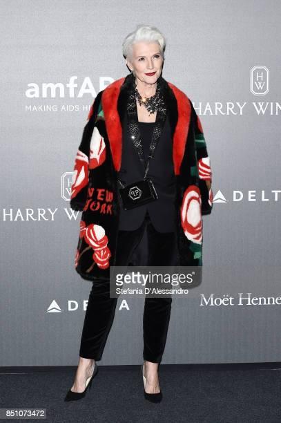 Maye Musk walks the red carpet of amfAR Gala Milano on September 21 2017 in Milan Italy