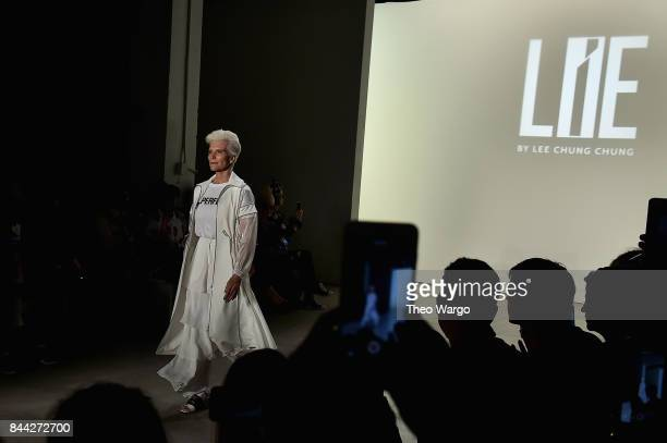 Maye Musk walks the runway during the Concept Korea fashion show during New York Fashion Week The Shows at Gallery 2 Skylight Clarkson Sq on...