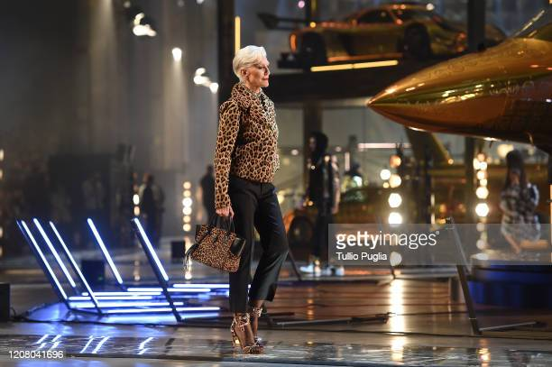 Maye Musk walks the runway during the Philipp Plein fashion show as part of Milan Fashion Week Fall/Winter 2020-2021 on February 22, 2020 in Milan,...