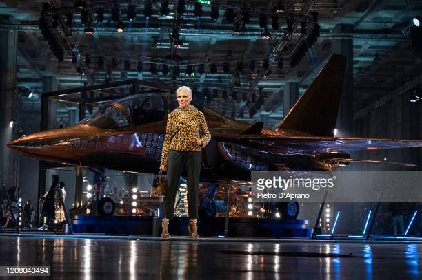 Maye Musk walks the runway during the Philipp Plein fashion show as part of Milan Fashion Week Fall/Winter 20202021 on February 22 2020 in Milan Italy